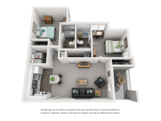 Floor plan of a 2 bed, 2 bath deluxe student apartment