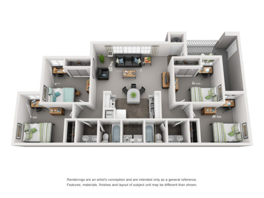 Floor plan of a 4 bed, 2 bath deluxe student apartment