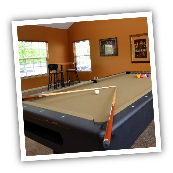 relax in the game room at the monroe